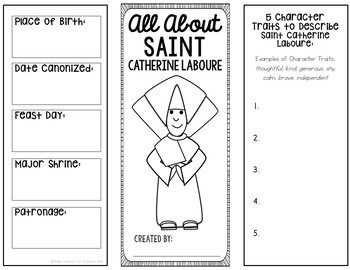 Saint Catherine Laboure Research Brochure Project w/ Interactive Notebook Pocket