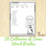 Saint Catherine of Siena Word Puzzles: No Prep Catholic Activities