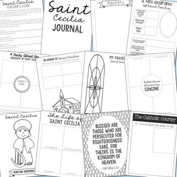 Saint Cecilia Notebook Journal Project, Catholic Resources