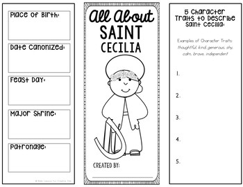 Saint Cecilia Research Project w/ Interactive Notebook Pocket