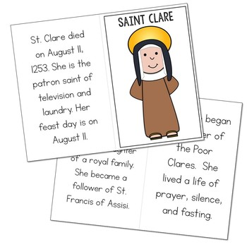 Saint Clare Biography Mini Book in 3 Formats, Catholic Resource