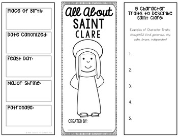 Saint Clare Research Brochure Project with Interactive Notebook Pockets