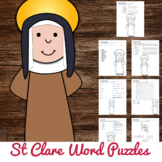 Saint Clare Word Puzzles - No Prep Catholic Activities