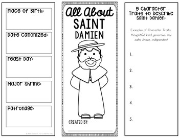 Saint Damien Research Brochure Project with Interactive Notebook Pockets