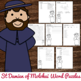 Saint Damien of Molokai Word Puzzles : No Prep Catholic Activities