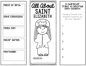 Saint Elizabeth Research Brochure Project with Interactive Notebook Pockets