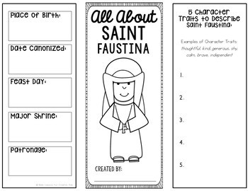 Saint Faustina Research Brochure Project with Interactive Notebook Pockets