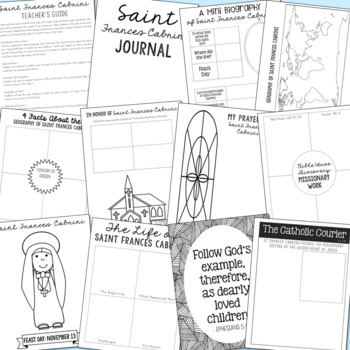 Saint Francis Cabrini Notebook Journal Project, Catholic Resources