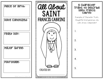 Saint Francis Cabrini Research Brochure Project with Interactive Notebook Pocket