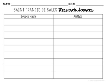 Saint Francis De Sales Research Brochure Project w/ Interactive Notebook Pockets
