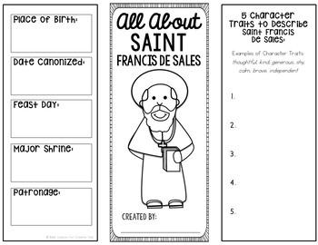 Saint Francis De Sales Research Brochure Project w/ Interactive Notebook Pockets