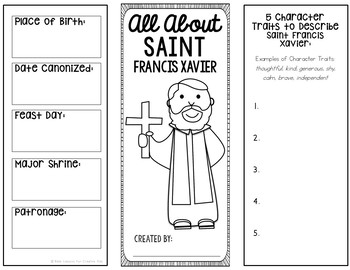 Saint Francis Xavier Research Brochure Project with Interactive Notebook Pockets