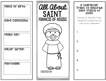 Saint Francis of Assisi Research Brochure Project w/ Interactive Notebook Pocket