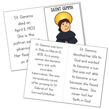 Saint Gemma Biography Mini Book in 3 Formats, Catholic Resource