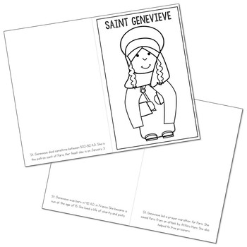 Saint Genevieve Biography Mini Book in 3 Formats, Catholic Resource