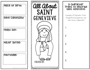 Saint Genevieve Research Brochure Project with Interactive Notebook Pockets
