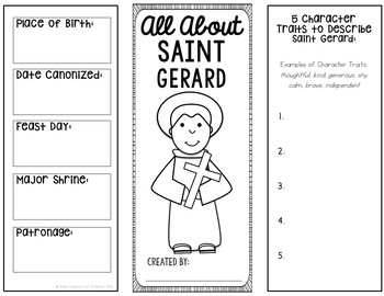 Saint Gerard Research Brochure Project with Interactive Notebook Pockets