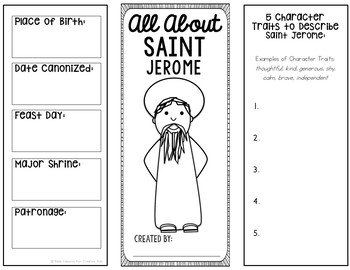 Saint Jerome Research Brochure Project with Interactive Notebook Pockets