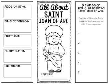 Saint Joan of Arc Research Brochure Project with Interactive Notebook Pockets