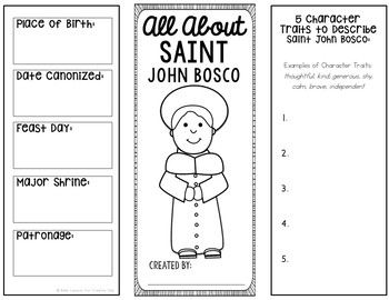 Saint John Bosco Research Brochure Project with Interactive Notebook Pockets