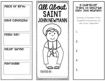 Saint John Neumann Research Brochure Project with Interactive Notebook Pockets