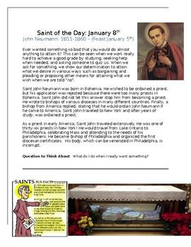 Saint John Neumann Saint of the Day Worksheet
