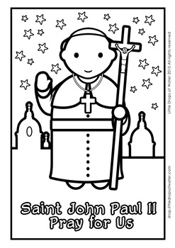 Saint John Paul II Coloring - Catholic