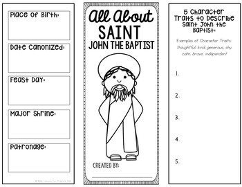 Saint John the Baptist Research Project w/ Interactive Notebook Pocket