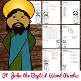 Saint John the Baptist Word Puzzles - No Prep Catholic Activity