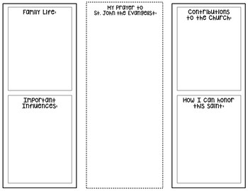Saint John the Evangelist Research Project w/ Interactive Notebook Pockets