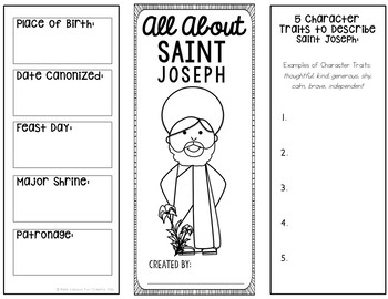 Saint Joseph Research Brochure Project with Interactive Notebook Pockets