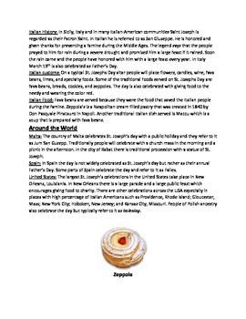 Saint Joseph's Day - History Facts Information Questions Activities Vocab
