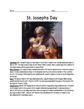 Saint Joseph's Day - History Facts Information Questions A