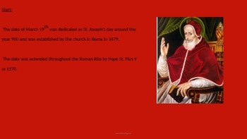 Saint Josephs Day - Power Point - Information Facts Pictures Tradition World