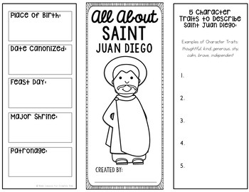 Saint Juan Diego Research Brochure Project with Interactive Notebook Pockets