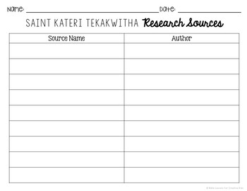Saint Kateri Tekakwitha Research Brochure Project w/ Interactive Notebook Pocket