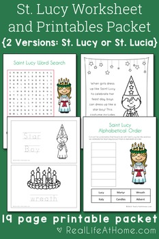 Saint Lucy Activities Printable Packet
