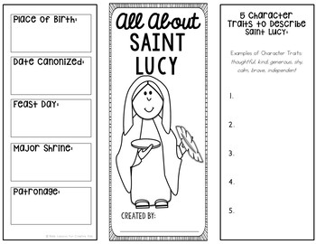 Saint Lucy Research Brochure Project with Interactive Notebook Pockets