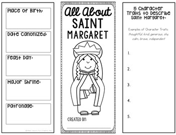 Saint Margaret Research Brochure Project with Interactive Notebook Pockets