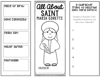 Saint Maria Goretti Research Brochure Project with Interactive Notebook Pockets