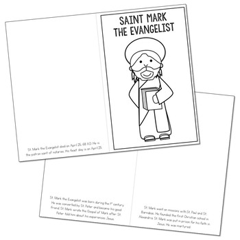 Saint Mark the Evangelist Biography Mini Book in 3 Formats, Catholic Resource