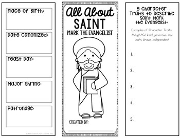Saint Mark the Evangelist Research Project with Interactive Notebook Pockets
