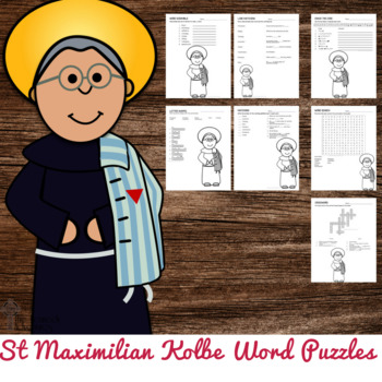 Saint Maximilian Kolbe Word Puzzles - No Prep Catholic Activity
