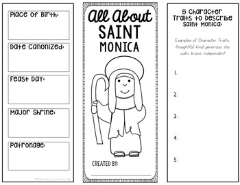 Saint Monica Research Brochure Project with Interactive Notebook Pockets