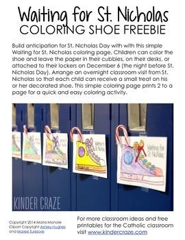 Saint Nicholas Day Shoe Coloring FREEBIE