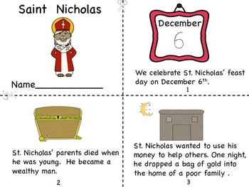 Saint Nicholas Mini Book, and Coloring Page
