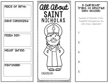 Saint Nicholas Research Brochure Project with Interactive Notebook Pockets
