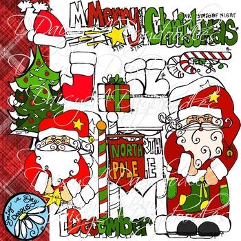 Saint Nick - Christmas Color & BW - Clip Art