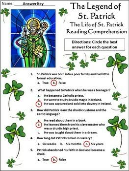 Saint Patrick's Day: The Legend of St. Patrick Activity Packet