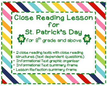 Saint Patrick : Close Reading activity for St. Patrick's Day